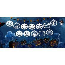 12 Pieces Halloween pumpkin Stencil Set Plastic Drawing Templates M17F