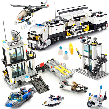 536pcs Police Station Prison Trucks Building Blocks compatible legoing City Car Boat Helicopter policeman figures street bike educational construction DIY Bricks Toys For Children