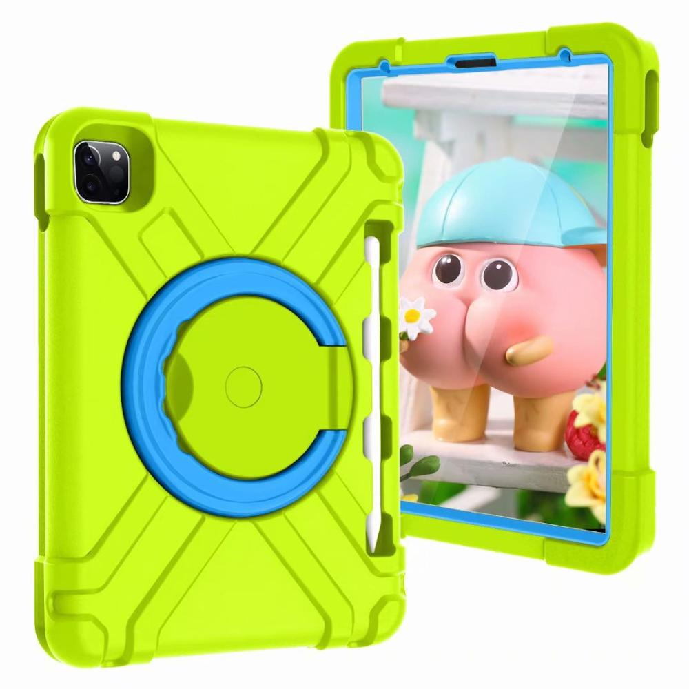 Green-Blue Yellow High Duty for iPad Pro 11 2018 2020 Case Kids A1980 A2230 Shockproof EVA 360 Pencil