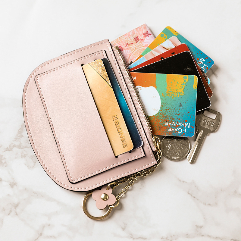 Tallies Leather Goods * Purse Women's Mini Cute South Korea Square Sling Bag Ultra-Thin Simple Coin Bag Keychain Wallet