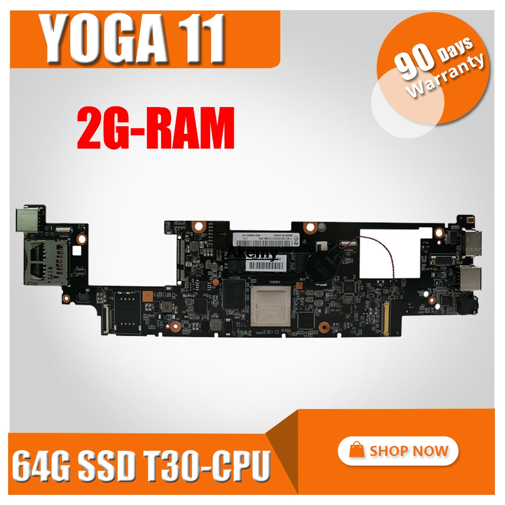 Original For Lenovo Yoga 11 laptop motherboard With T30 CPU 2G RAM 64G SSD FRU 90002143 11S11201291 MB 100% Tested Fast Ship|Motherboards| |  - title=