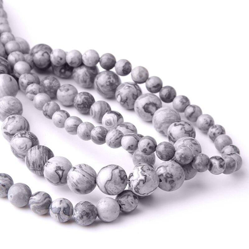 Бусины из натурального серого камня,, натуральные круглые в полоску драгоценные камни Jaspers, бусины 8 мм, ювелирные изделия, сделай сам, браслет
