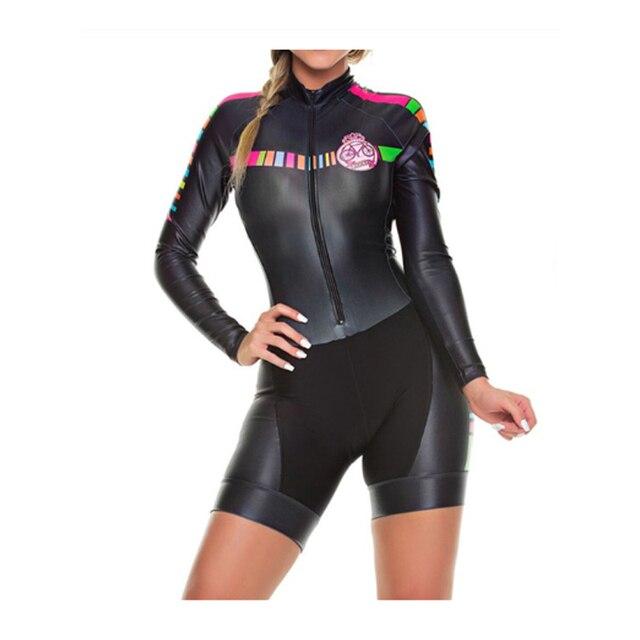 Das mulheres longas calças Ciclismo Skinsuit Maillot Ropa ciclismo Triathlon curto de Manga comprida Casal Bicicleta Jersey define Macacão 1