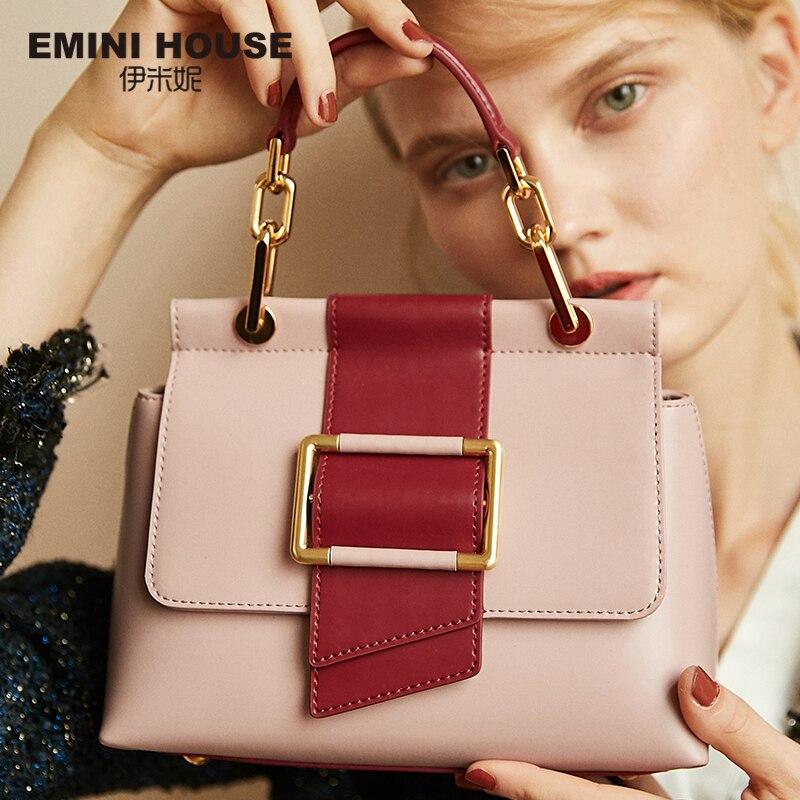 EMINI HOUSE Metal Square Buckle Handbag Luxury Handbags Women Bags Designer Split Leather Crossbody Bags For Women Messenger Bag