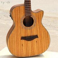 good quality zebra wood acoustic electric guitar 40inch