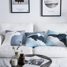 Nordic Modern Simple Pillow Cover Whale Bear Pattern Printing Throw Cushion Cover Soft Canvas Living Room Home Decoration 45x45 цены