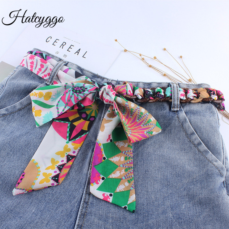 HATCYGG Fashion Floral Fabric Belt Women Waist Belts Female Designer/Wide Belt Ladies Silk Scarf Strap Belts For Dress Waistband
