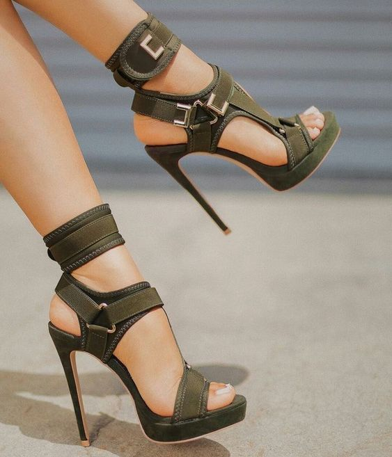 Trendy Platform Sandals Open Toe Cut Out High Heels Shoes Hook and Loop Ankle Strap Sexy Stiletto Shoes Buckle Decor Sandals - 2