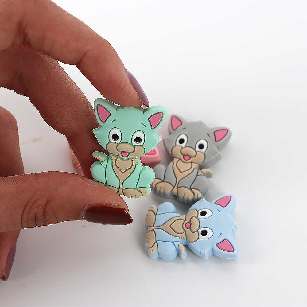 50pc Carton Animal Rodent Baby Teether Beads Carton Silicone Teething Toys Accessories Pacifier Chain Mini Bead