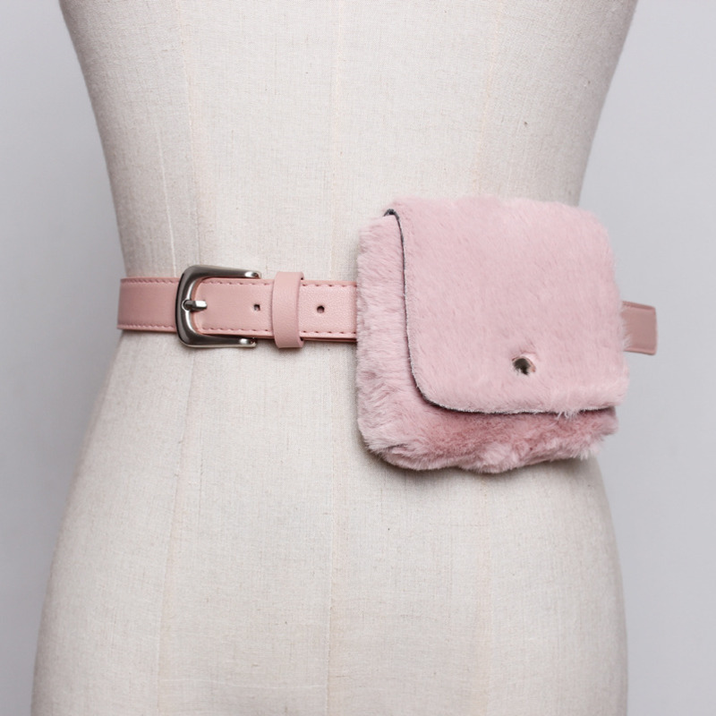 Belts For Women Fashion Sexy Belt Bag Plush Leather 2020 Spring Casual Fashion Trendy Solid White Female Stylish Waist Bag ZK451