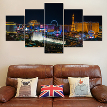 5 Pieces Las Vegas City Landscape Paintings Canvas HD Prints Modular Pictures Wall Art Home Decorative Poster Modern Artwork