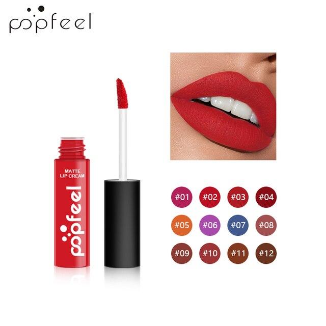 POPFEEL Lip Makeup Set Matte Lip Tint Red Lip Matte Long Lasting  Sexy Lipstick Velvet Liquid Lip Gloss Non-Stick Cup Multicolor