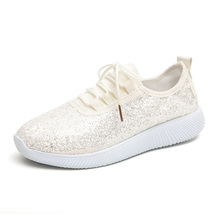 Fashion Gold Silver Shoes Women Glitter Sneakers Summer Bling White Lace-up Sparkly For Casual D30