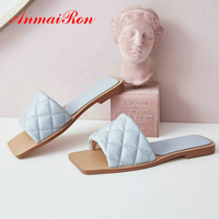 ANMAIRON 2020 Square Heel Flat Shallow Slippers Women Kid Suede Summer Indoor Womans Shoes Pigskin Plaid Brown House Shoes