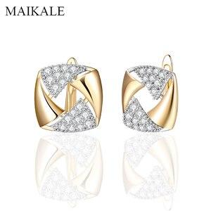 Женские сережки-гвоздики MAIKALE, сережки из квадратного золота с инкрустацией из микровоска, Роскошный натуральный Цирконий
