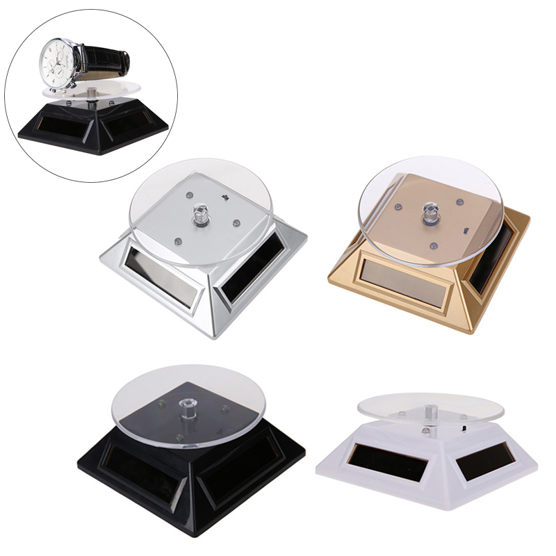 360 Degree Watch Stand Display Turntable Rotating Watch Jewelry Solar Display Stand Multicolor 3 LED Color Change Display Case
