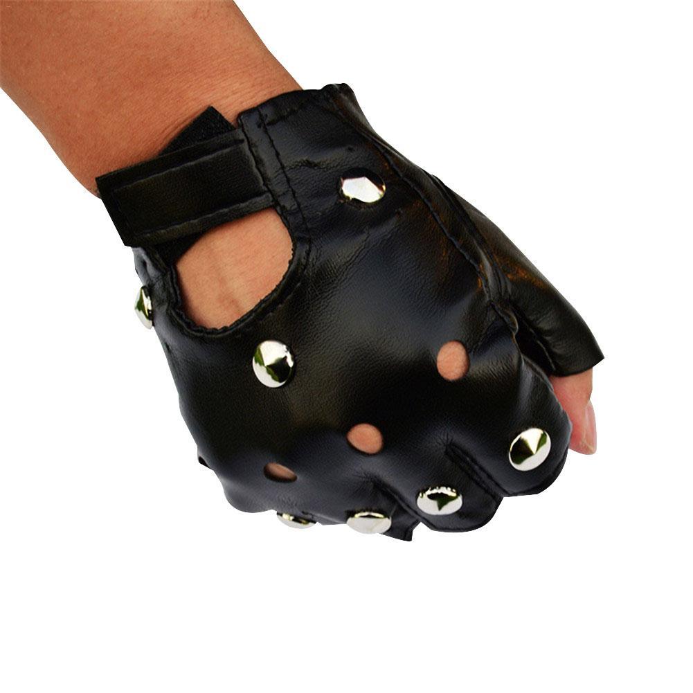 Men's Half Finger Leather Gloves Men Half Finger Biker Driving Faux Black Punk Fingerless Leather Gloves For Singers Performance