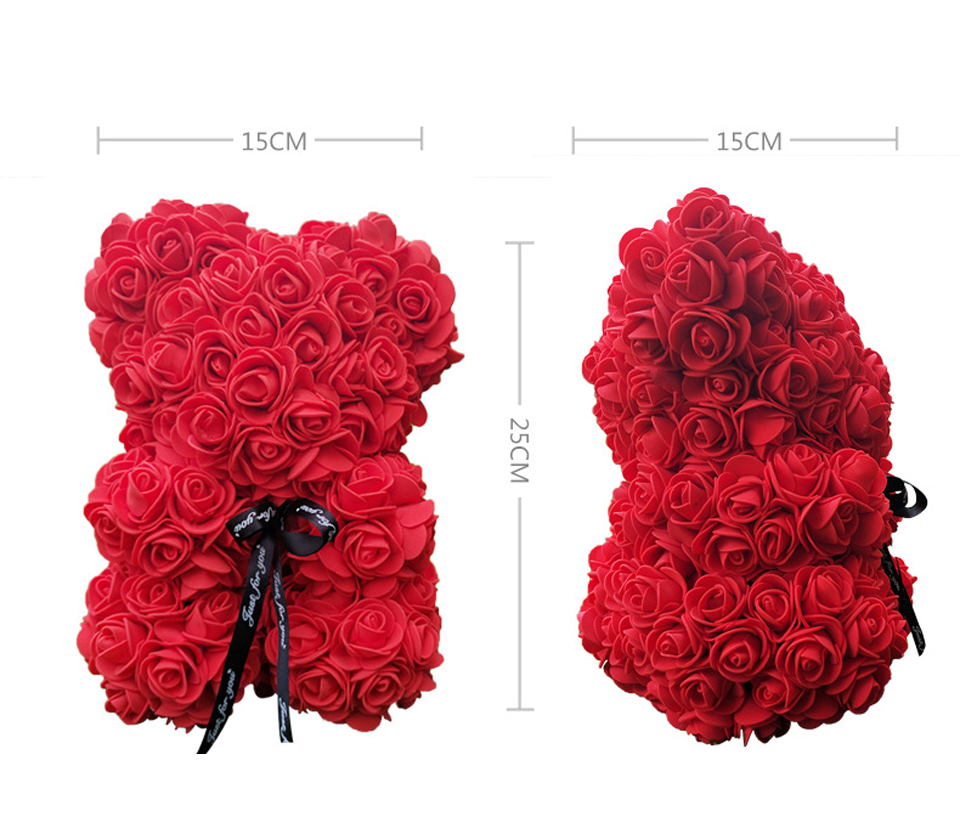 Floral Rose Bear Gift Flower Rosebear For Valentines Day Artificial Roses Teddy