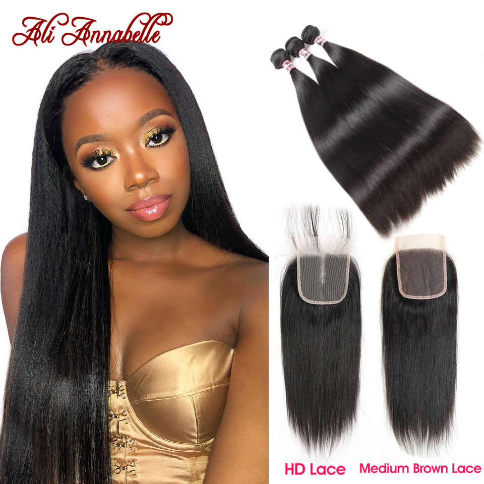 HD Lace Closure with 3 Bundles Peruvian Straight Human Hair With HD Lace Closure Double Weft Human Hair Bundles With Closure