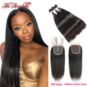 HD Lace Closure with 3 Bundles Peruvian Straight Human Hair With HD Lace Closure Double Weft Human Hair Bundles With Closure - DISCOUNT ITEM  49% OFF All Category