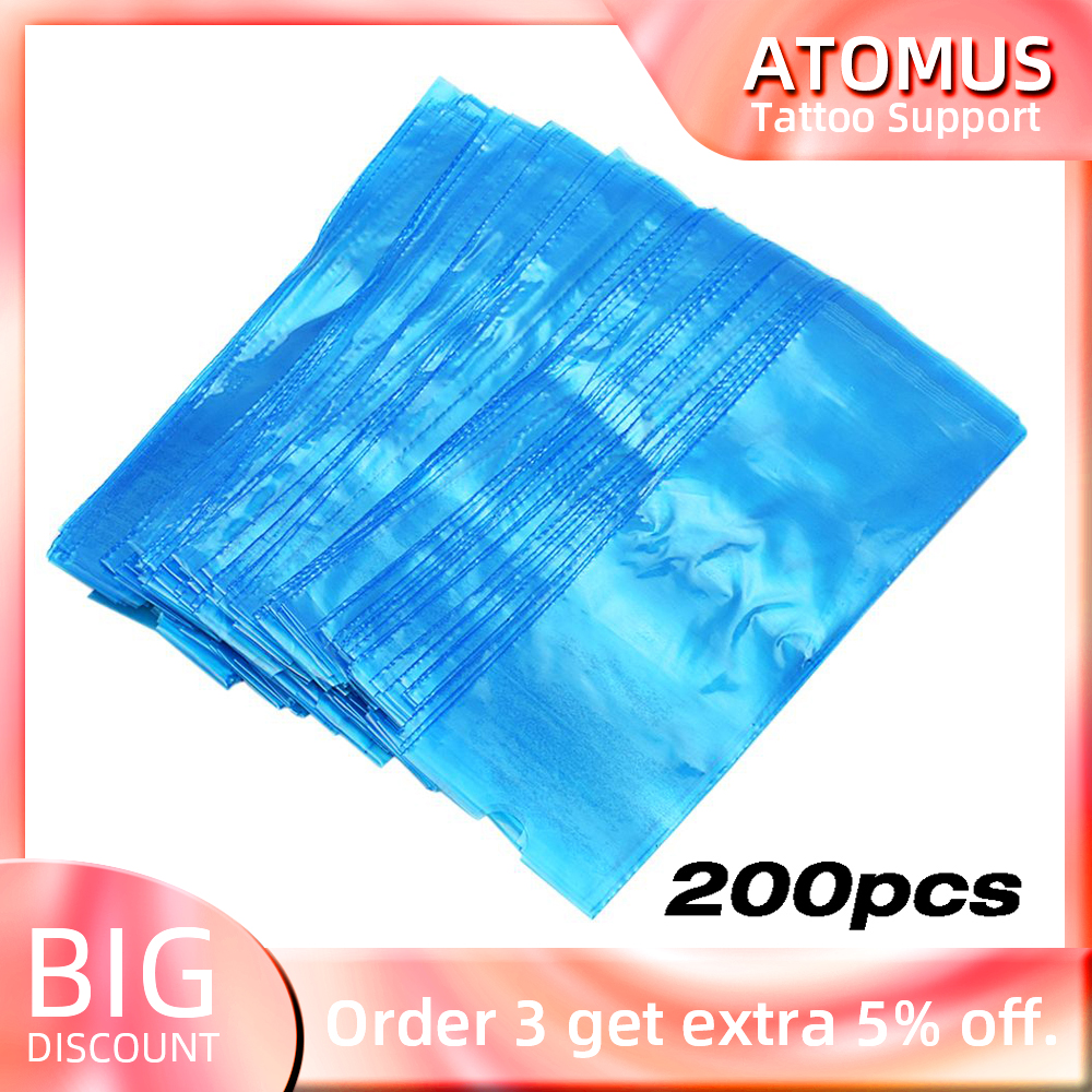 200pcs Disposable Plastic Blue Tattoo Clip Cord Sleeves Cover Bag Professional Tattoo Accessories For Tattoo Machine Supply