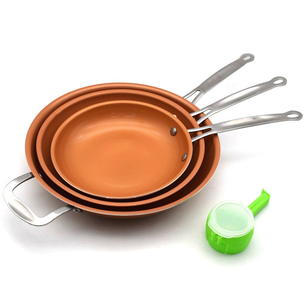 Un ensemble 8/10/12 pouces poêle antiadhésive en cuivre avec revêtement en céramique et cuisson par Induction + 1 pc utilitaire aliments sains