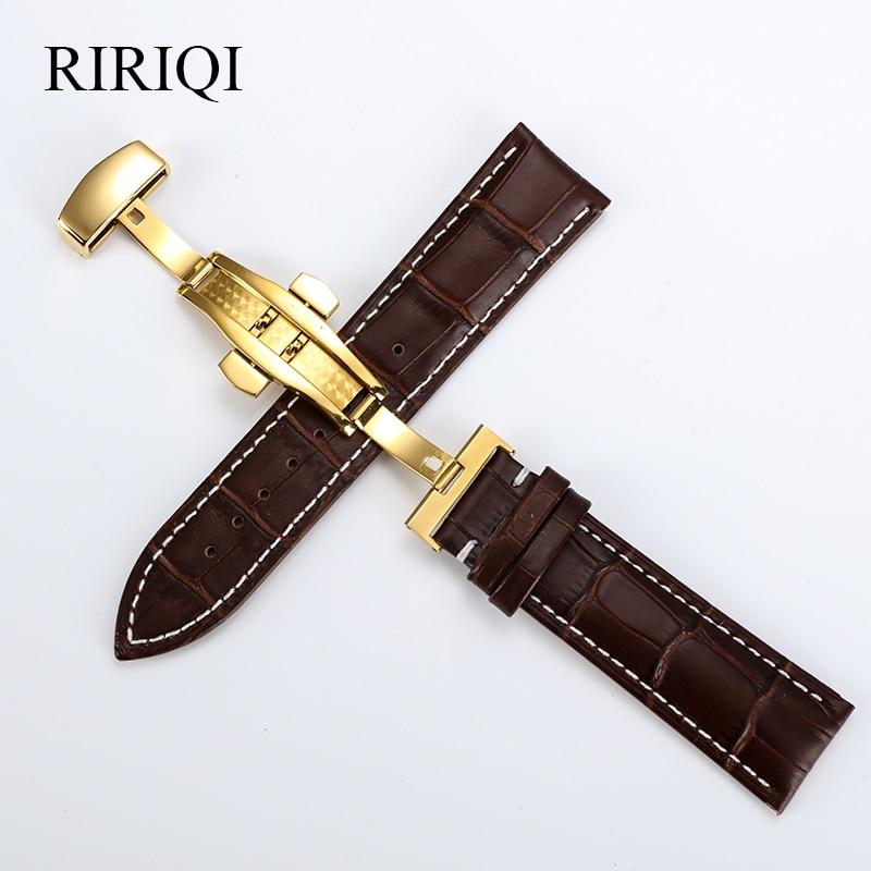 Ремешок из натуральной кожи для наручных часов, универсальный стальной браслет с разноцветной пряжкой-бабочкой, чёрная, белая линия, 16, 18, 19, ...