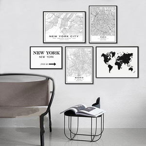 Nordic Minimalist World Famous City Map Canvas Paintings Berlin Oslo Poster Print Wall Art Pictures for Living Room Home Decor(China)