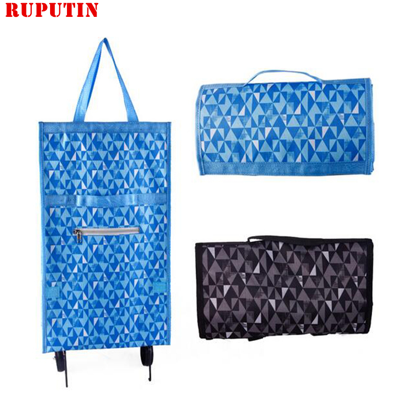 Foldable Grocery Shopping Cart Food Organizer Trolley Bag On Wheels Bags Buy Vegetables Shopping Bags Small Pull Cart Tug Bag