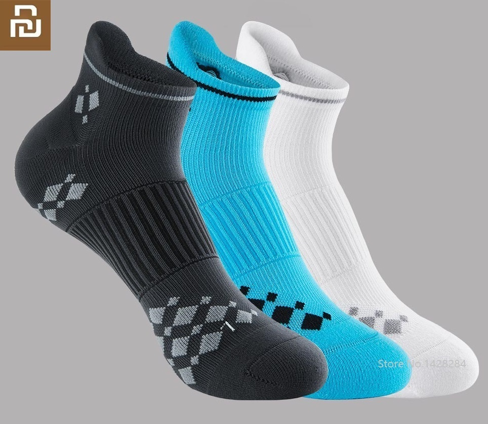 Youpin New  Men Racing Sports Short Socks Non-slip Damping Thickening Terry Antibacterial Male Quick Drying Breathable