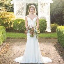 Verngo Mermaid Wedding Dress Simple Satin Bride Backless Gowns Boho Robe De Mariee