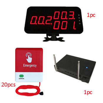 Medical Equipment Hospital Wireless Nurse Call Bell System 1 Screen 20 Pull Cord Button 1 Signal Repeater