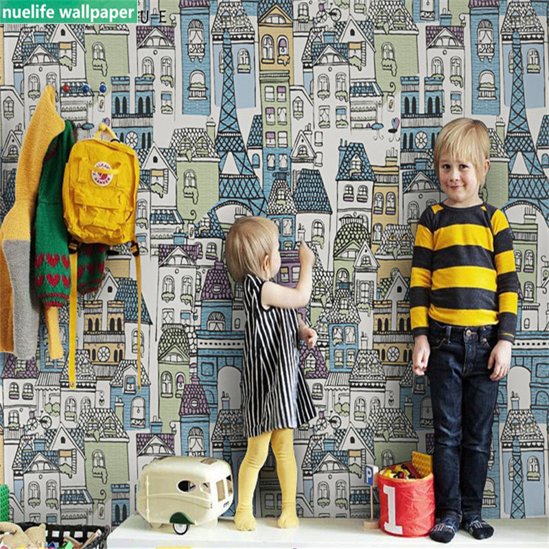 0 53x10m Cartoon castle city pattern wallpaper living room bedroom kindergarten children 39 s room shop TV background wall paper in Wallpapers from Home Improvement