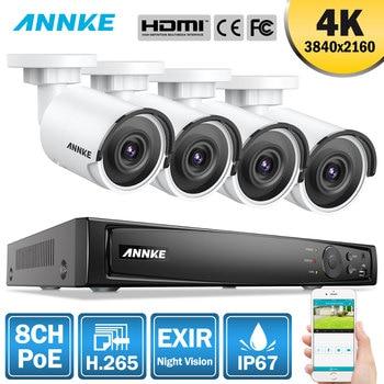 ANNKE 8CH 4K Ultra FHD POE wideo sieciowe System bezpieczeństwa 8MP H.265 NVR z 4szt 8MP odporną na warunki atmosferyczne kamerą IP z 1TB/2TB/4TB HDD