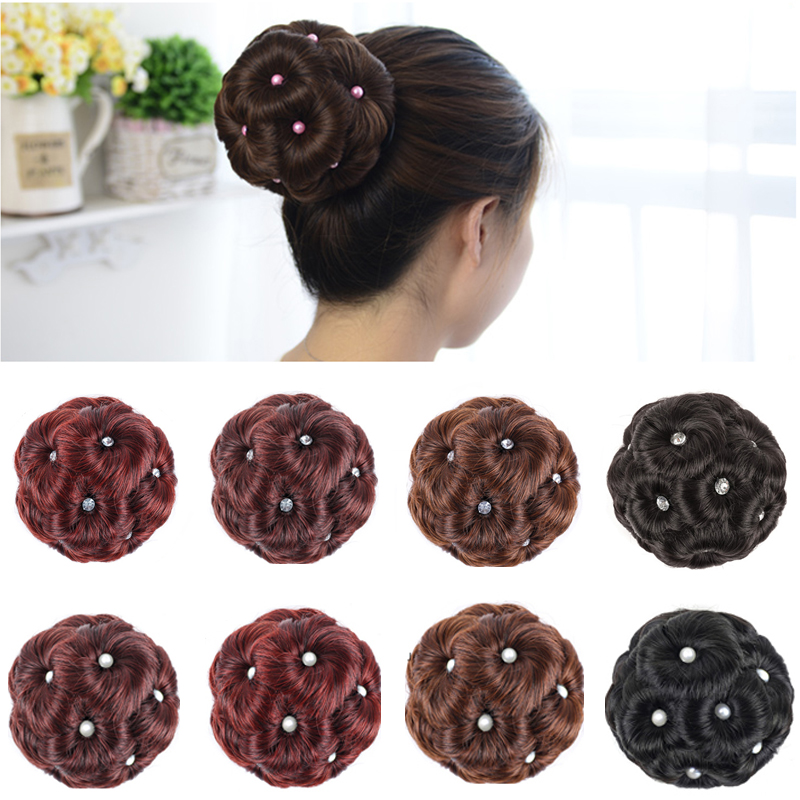 DIANQI A Woman's High Temperature Synthetic Fiber In A Curly-haired Bun Donut Clipped To Her Hair Extension