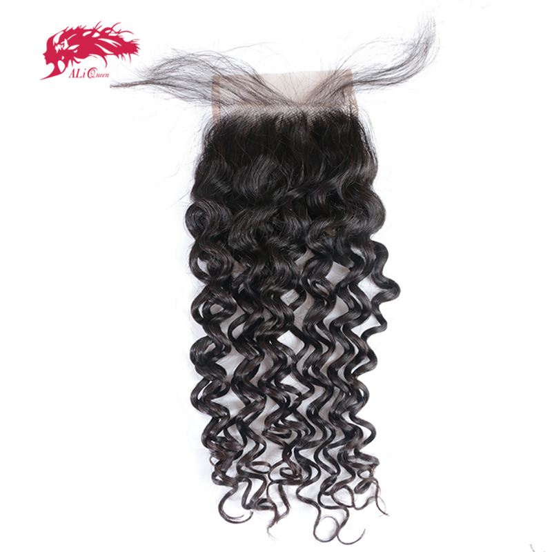 Virgin Water Wave Closure Free Part Lace Closure Ali Queen Hair One Cut 4 X 4 Brazilian Lace Closure Human Hair Natural Black