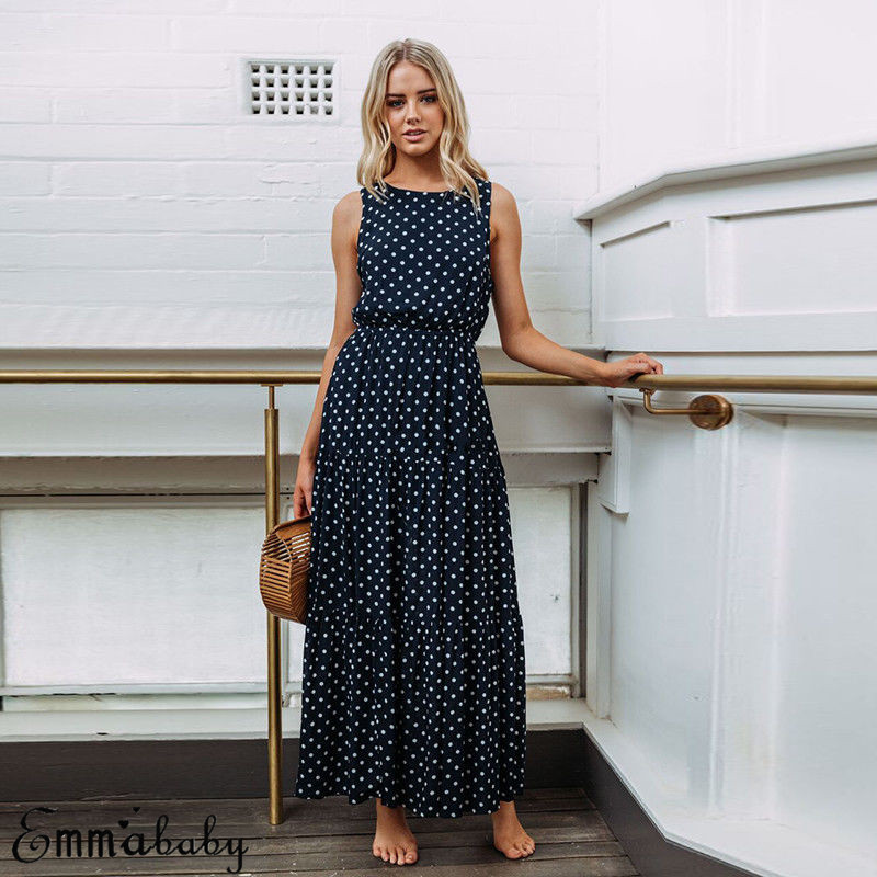 Ha4adf8fe4e9748bc89c4ba9d173ff0b2A 2019 Bobo Women Dark Blue Boho Loose Sleeveless Holiday Dot Print Long Maxi Dress Evening Party Beach Dresses Summer Sundress