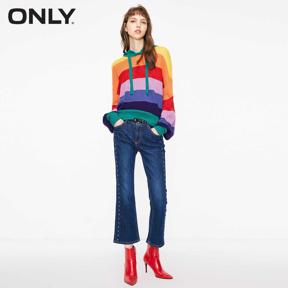 유일한 겨울 Raibbow 색상 후드 스트립 여성 스웨터 | 118324601