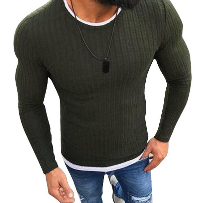 Plus Size M-5XL Slim Fit Sweater Men 2019 Autumn O-Neck Knitted Sweater Men Casual Solid Pullover Mens Sweater Pull Homme