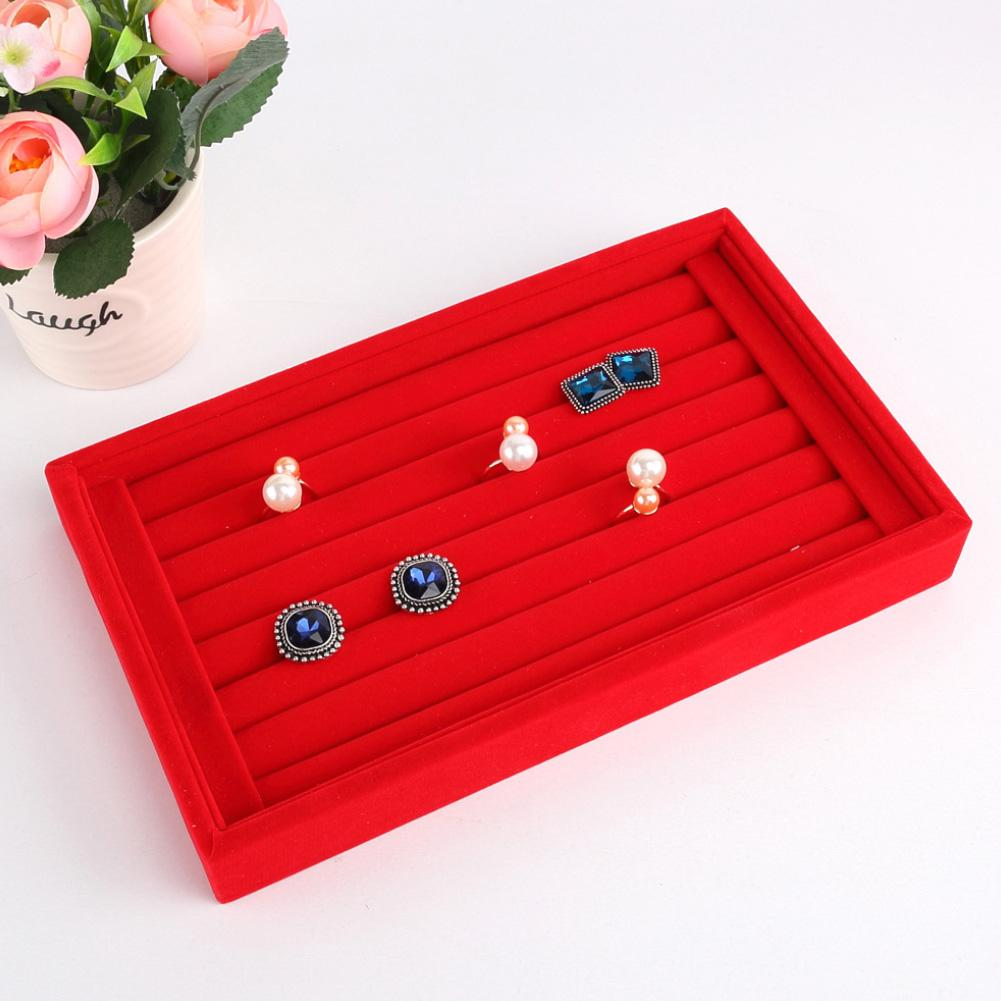 Portable Suede Lady Ring Earrings Tray Holder Showcase Jewelry Accessories Display Stand Storage Case Organizer Rack Box New 201