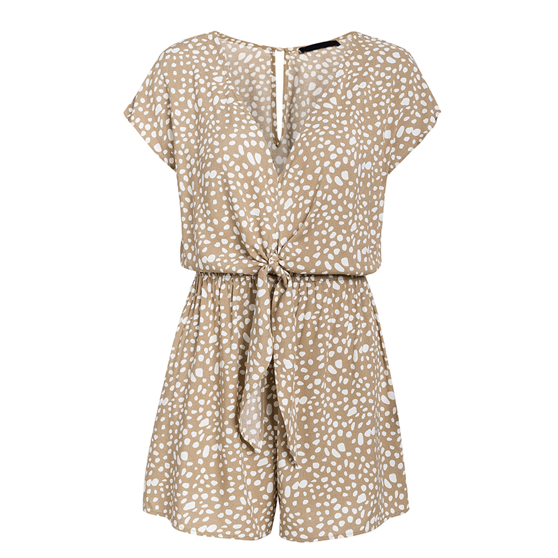 Ha4ae221f44fe4a8385e30b3b399babfd8 - Conmoto bow sleeveless wide leg women short jumpsuits rompers casual loose bow tie playsuits leopard sleeveless short rompers