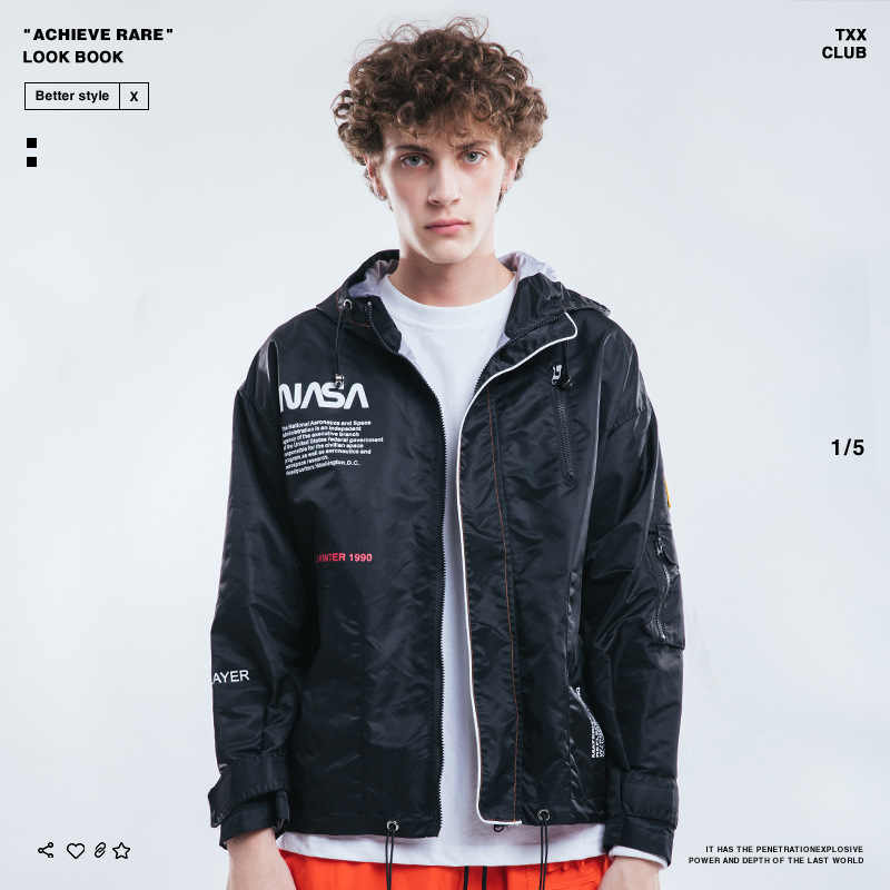 2018 Europe And America Popular Brand Autumn And Winter Men'S Wear NASA American Flag Waterproof Windcheater Men Jacket Coat