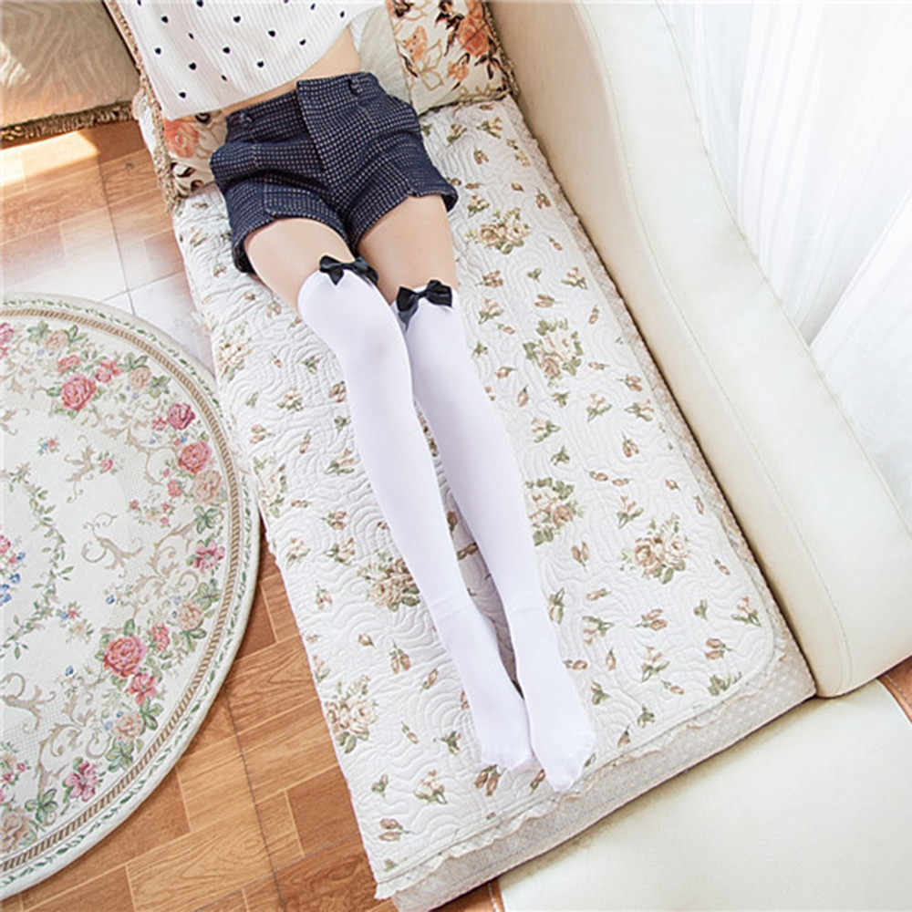 膝靴下セクシーなストッキングベルベット女性春秋ホワイトストッキング弓セクシーなロング靴下女性膝素敵な日本靴下
