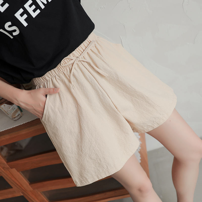 Summer Women Shorts Casual Solid Cotton And Linen Shorts Female Fashion Elastic Waist Big Size Comfy Loose Shorts Oversize