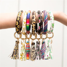 New Fashion Multicolor  PU Leather O Key Chain Custom Circle Tassel Wristlet Keychains Women Girl Ring Jewelry Gift