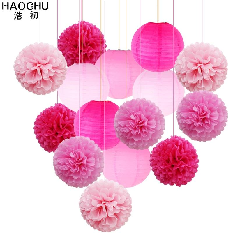 9pcs Paper Pom Poms Tissue Flower Balls Mixed 6pcs Hanging Paper Lantern Decoration Set Holiday Wedding Birthday Party DIY Decor