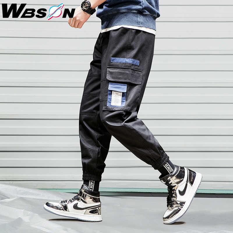 Wbson 2020 Nieuwe Fashion Design Japanse Stijl Mannen Cargo Broek Hip Hop Overalls Broek Mannelijke Losse Streetwear Broek K104