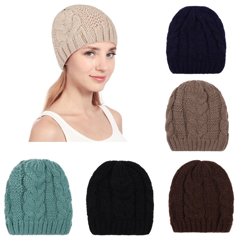 Knitted Warm Hats Unisex Fashion Beanies Caps Pure Color Winter Autumn Knitted Hat Ski Bonnet Hip-Hop Caps