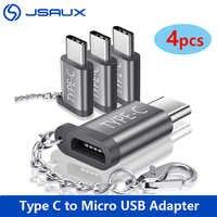 JSAUX-Adaptador USB tipo C, Micro Usb a Usb C, Conector de conversión con llavero, Compatible con Samsung Galaxy S9, 4 Uds.