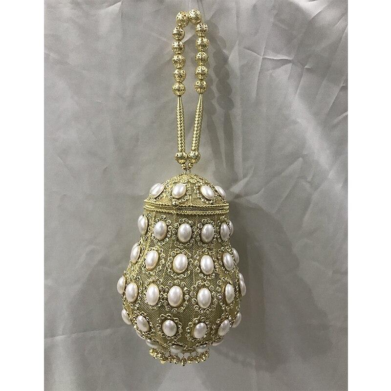 DOYUTIG couleur or indien sac à la main blanc ovale simulé Peal dîner sac femmes classique mariage embrayages sacs de soirée F711